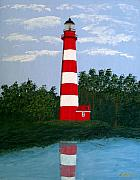 Landscape Art Paintings - Assateague Island Light by Frederic Kohli