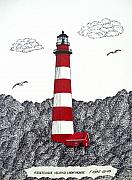Ink Framed Prints - Assateague Island Lighthouse Drawing Framed Print by Frederic Kohli