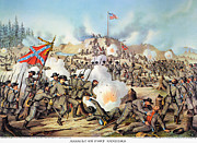 Confederate Flag Photo Posters - Assault On Fort Sanders Poster by Granger