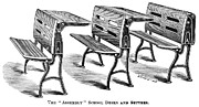 1870 Posters - Assembly School Desks Poster by Granger