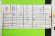 Wall Chart Photos - Assignment Board On Green Wall by Don Mason