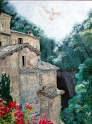 Red Geraniums Prints - Assisi Spirit Print by Sarah Hornsby