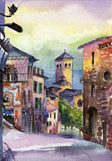 Assisi Framed Prints - Assisi Street Scene Framed Print by Lydia Irving