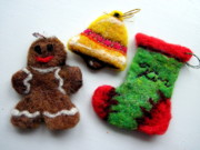 Holiday Tapestries - Textiles - Assorted Christmas Ornaments by Kimberly Simon