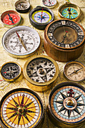 Old Map Photo Posters - Assorted compasses Poster by Garry Gay
