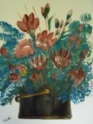 Assorted Originals - Assorted Flowers gold trim bucket by Teresa Nash