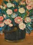 Assorted Originals - Assorted Flowers in A Bucket by Teresa Nash