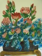 Assorted Originals - Assorted Flowers in a gold pot by Teresa Nash