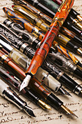 Write Prints - Assorted fountain pens Print by Garry Gay