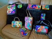 Handpainted Sculptures - Assorted hand painted purses by Lisa Day