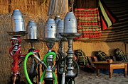 Hookah Prints - Assorted hookahs pipes hubble-bubble at beach restaurant Print by Sami Sarkis