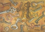Ken Prints - Assorted Skeleton Keys Print by Ken Powers