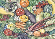 Fresh Vegetables Painting Posters - Assorted Vegetables Poster by Annie Laurie