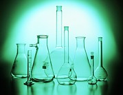 Flasks Prints - Assortment Of Empty Laboratory Flasks Print by Tek Image