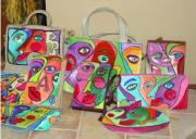 Faces Pyrography - Assortment of hand painted purses by Lisa Day