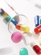 Tablet Prints - Assortment Of Pills Print by Tek Image