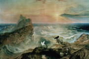 Rocky Shoreline Paintings - Assuaging of the Waters by John Martin