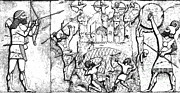 War Relief Framed Prints - Assyrian Archers Attack Ekron, 712 Bc Framed Print by Photo Researchers