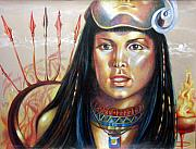 Surrealism Drawings - Astarte egyptian goddess original painting by Veronica Winters