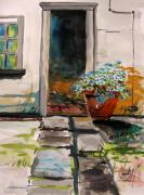Pennsylvania Artist Drawings - Aster by the Door by John  Williams
