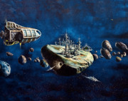 Outerspace Paintings - Asteroid City by Murphy Elliott