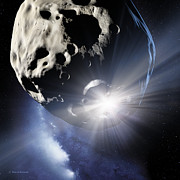 Asteroid Prints - Asteroid Deflection, Impact Flash Print by Detlev Van Ravenswaay