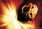 Mass Extinction Posters - Asteroid Deflection, Stand-off Explosion Poster by Detlev Van Ravenswaay