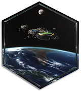 Outer Space Painting Framed Prints - Asteroid Golf Framed Print by Snake Jagger