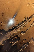 Impacting Metal Prints - Asteroid Impact On Mars, Artwork Metal Print by Detlev Van Ravenswaay