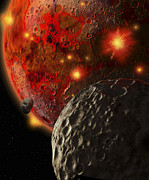 Cosmic Collision Posters - Asteroid Impacts On The Early Earth Poster by Ron Miller