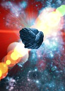 Asteroid Framed Prints - Asteroid In Deep Space, Artwork Framed Print by Victor Habbick Visions