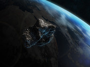 Catastrophe Digital Art - Asteroid In Front Of The Earth by Carbon Lotus