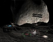 Asteroid Mining Prints - Asteroid Mining Settlement, Artwork Print by Walter Myers