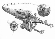 Train Drawings Originals - Asteroid Mining Ship by Murphy Elliott