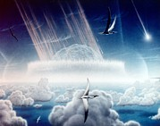 Pterodactyls Prints - Asteroid Slamming Into The Shallow Seas Print by Everett