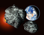 Asteroids Prints - Asteroids Approaching Earth Print by Victor Habbick Visions
