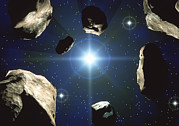 Asteroid Prints - Asteroids Orbiting The Sun Print by Roger Harris