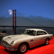 Transportation Digital Art Framed Prints - Aston Martin DB5 Under The Golden Gate Moon Framed Print by Wingsdomain Art and Photography