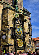 Town Square Prints - Astonomical Clock    Prague Old Town Print by Jon Berghoff