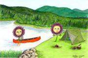 Canoe Drawings Posters - Astors Camping Poster by Kathleen Walker