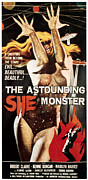 1950s Poster Art Framed Prints - Astounding She-monster, 1957 Framed Print by Everett