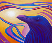 Native American Paintings - Astral Raven by Brian  Commerford