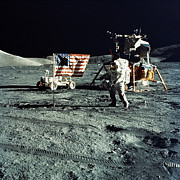 American Flags Prints - Astronaut And Lunar Module On Moon Print by Stocktrek Images