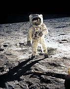 The First Man On The Moon Prints - Astronaut Edwin E. Aldrin Print by Nasa