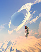Colonisation Framed Prints - Astronaut Exploring A Planet Framed Print by Victor Habbick Visions