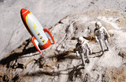 Close To People Posters - Astronaut Figurines And Toy Rocket Poster by Hemera Technologies