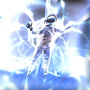 Light Streak Posters - Astronaut In A Space Warp Poster by Coneyl Jay
