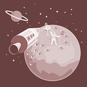 Rocket Prints - Astronaut Landing On Moon retro Print by Aloysius Patrimonio