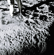 Low Section Prints - Astronaut On Surface Of Moon, Low-section (b&w) Print by Steve Taylor