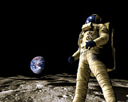 Man On The Moon Prints - Astronaut On The Moon Print by Victor Habbick Visions